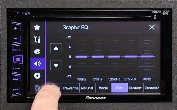 AVH-290BT parametric equalizer screen