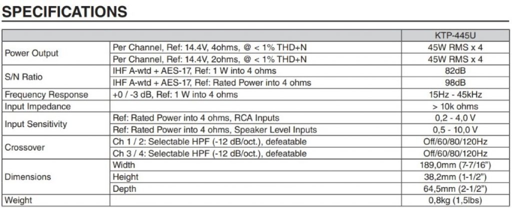 Image of Alpine KTP-445U technical specifications
