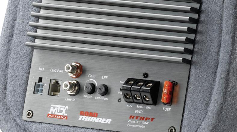 MTX RT8PT car powered subwoofer amplifier panel closeup image