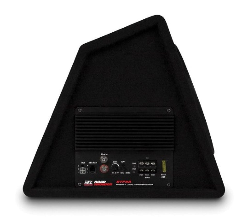 mtx audio rtp8a powered subwoofer side view