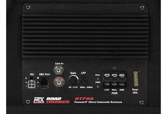 Closeup image of MTX RTP8A powered subwoofer amplifier
