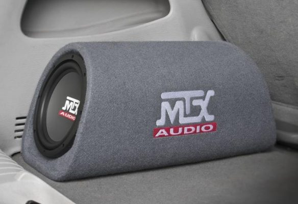 Image of MTX MTX Audio RTP8A powered subwoofer in a vehicle