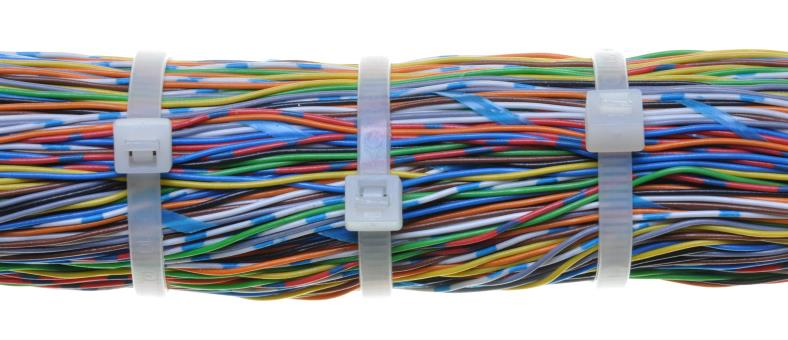 Wire bundled with zip ties example