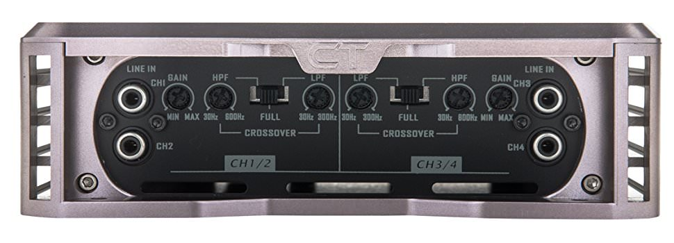 Close up image of a car amp crossover controls