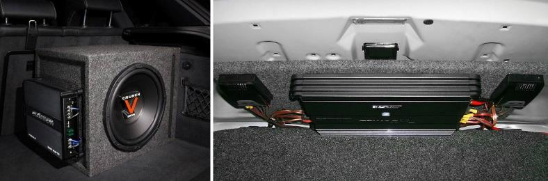 Example of 2 custom car amp installations