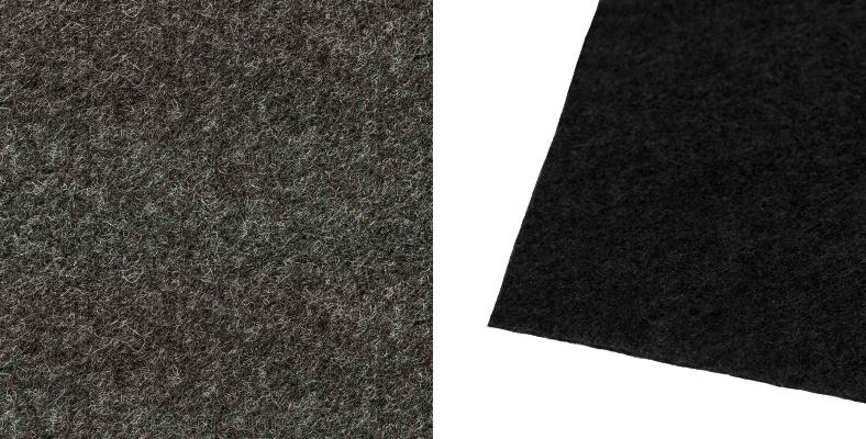 Car amp rack felt and speaker carpet examples closeup