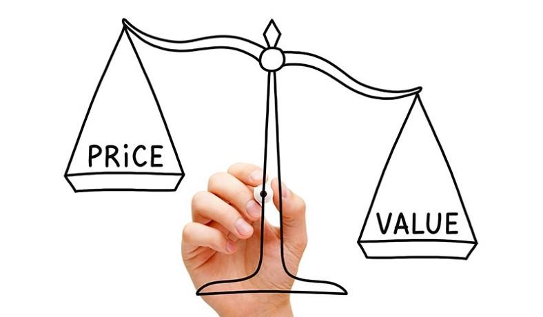 Image of a scale showing price vs value weighing
