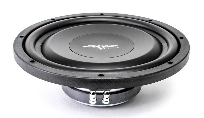 Skar Audio EV-12 shallow subwoofer side angle