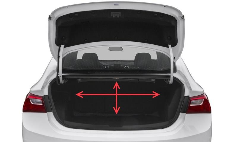 Image of a car trunk and car amp rack space measured