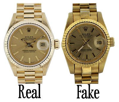Image of fake vs real Rolex watches