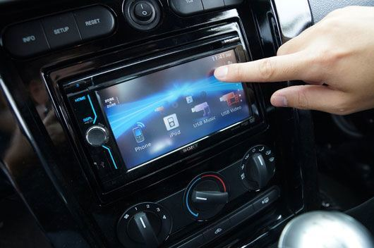 Image of an example touchscreen car radio