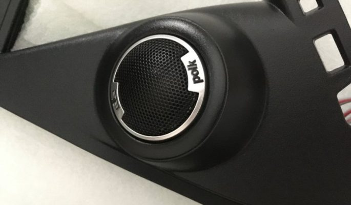 Image of Polk Audio DB1001 tweeters custom installed in car door panel