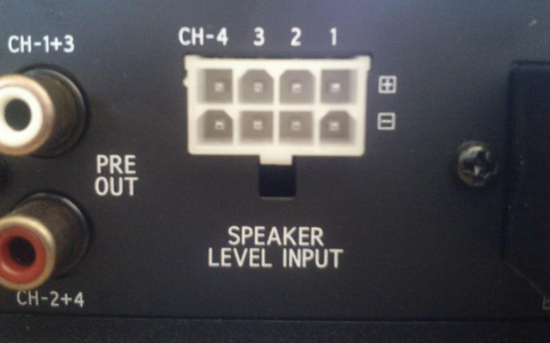 Car amplifier speaker level input example
