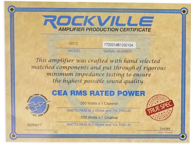 Rockville DB12 CEA power ratings certificate