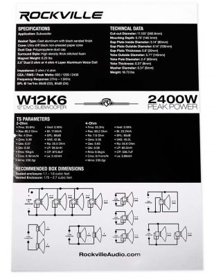 Rockville W12K6D4 car subwoofer owners manual image