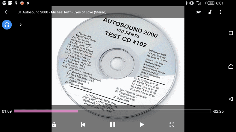 Autosound 2000 CD #102 stereo test track playing