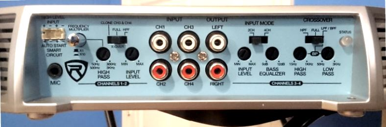 Closeup of a marine amp crossover controls