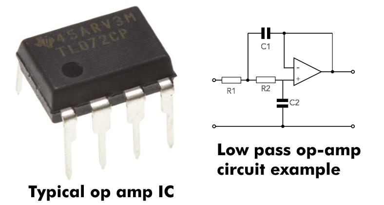 Image showing a typical op amp IC and low pass crossover circuit example