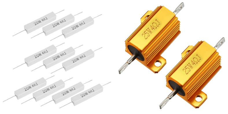 Image showing examples of higher power resistors (4 ohms) for use with speakers