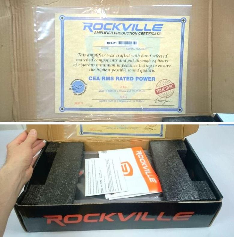 Image of unboxing the Rockville RXA-F1 amplifier with contents shown