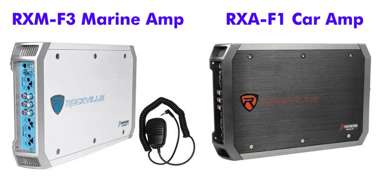 Image showing a side by side comparison of the Rockville RXM-F3 marine amp vs RXA-F1 car amp