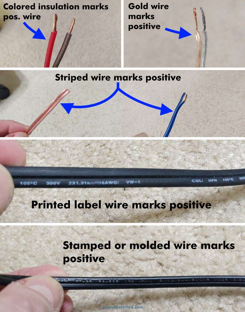 Which speaker wire is positive diagram with examples