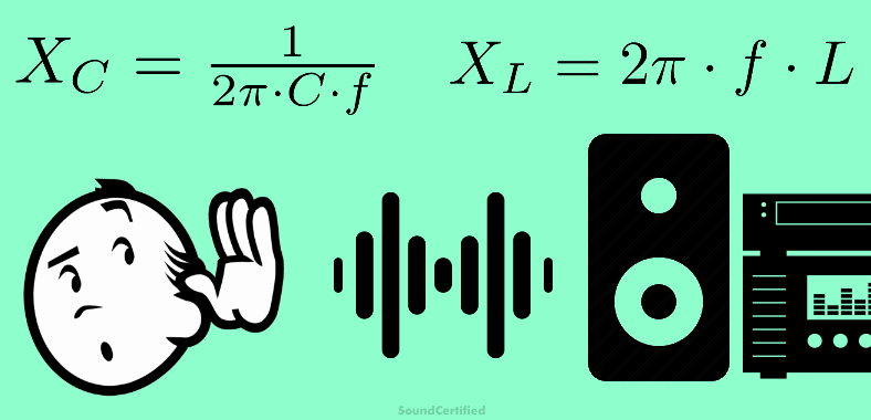 Clip art image of man listening to music with capacitive and inductive reactance formulas
