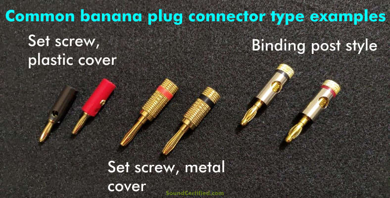 Image showing examples of banana plug speaker wire connector types