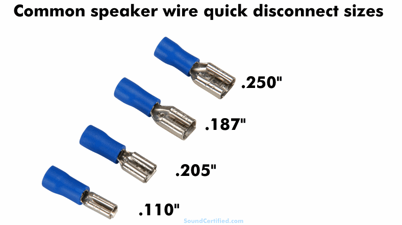 Image showing common speaker wire quick disconnect terminal sizes
