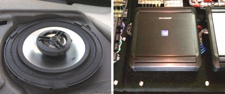 Coaxial speaker and car amplifier installation example image