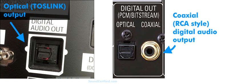 Digital audio optical and coaxial output examples
