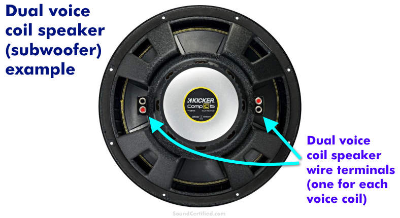 Dual voice coil subwoofer speaker example