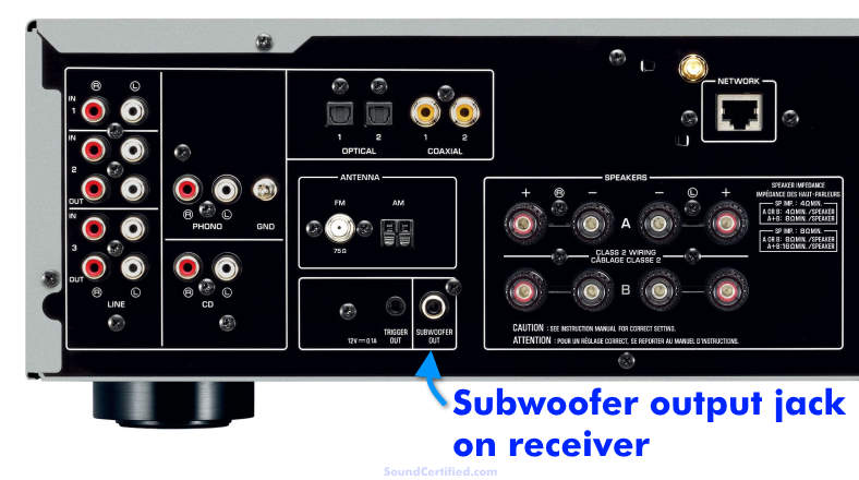 Receiver subwoofer output jack example