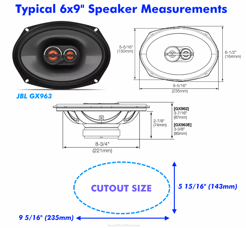 6x9 speaker size measurements diagram