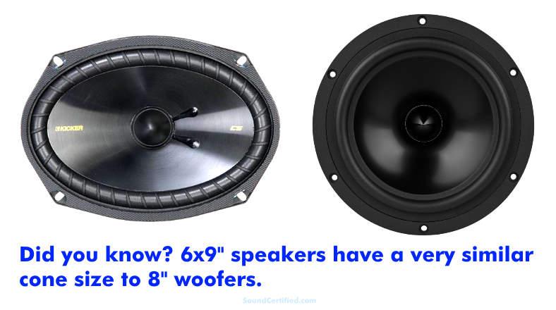 6x9 vs 8 inch speaker comparison image