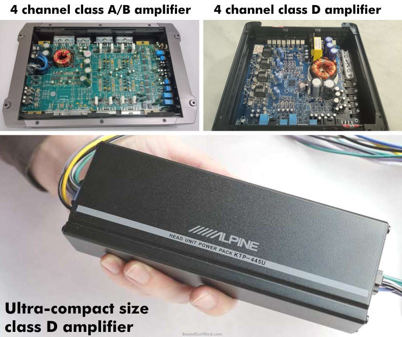 Examples of class A/B and class D car amplifiers