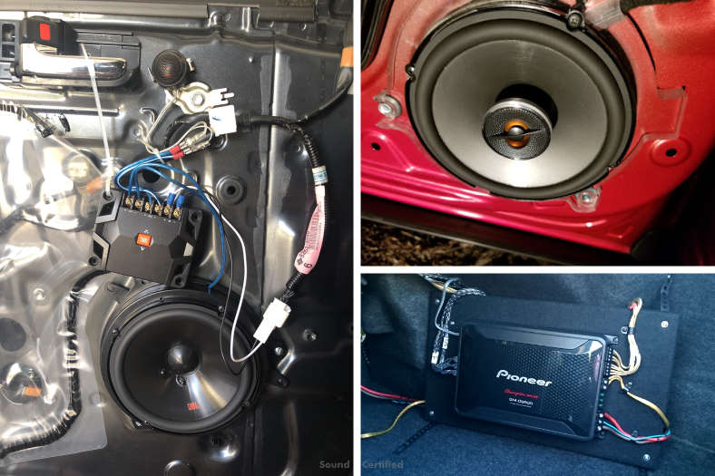 Image of a car amplifiers installed with component and coaxial speakers