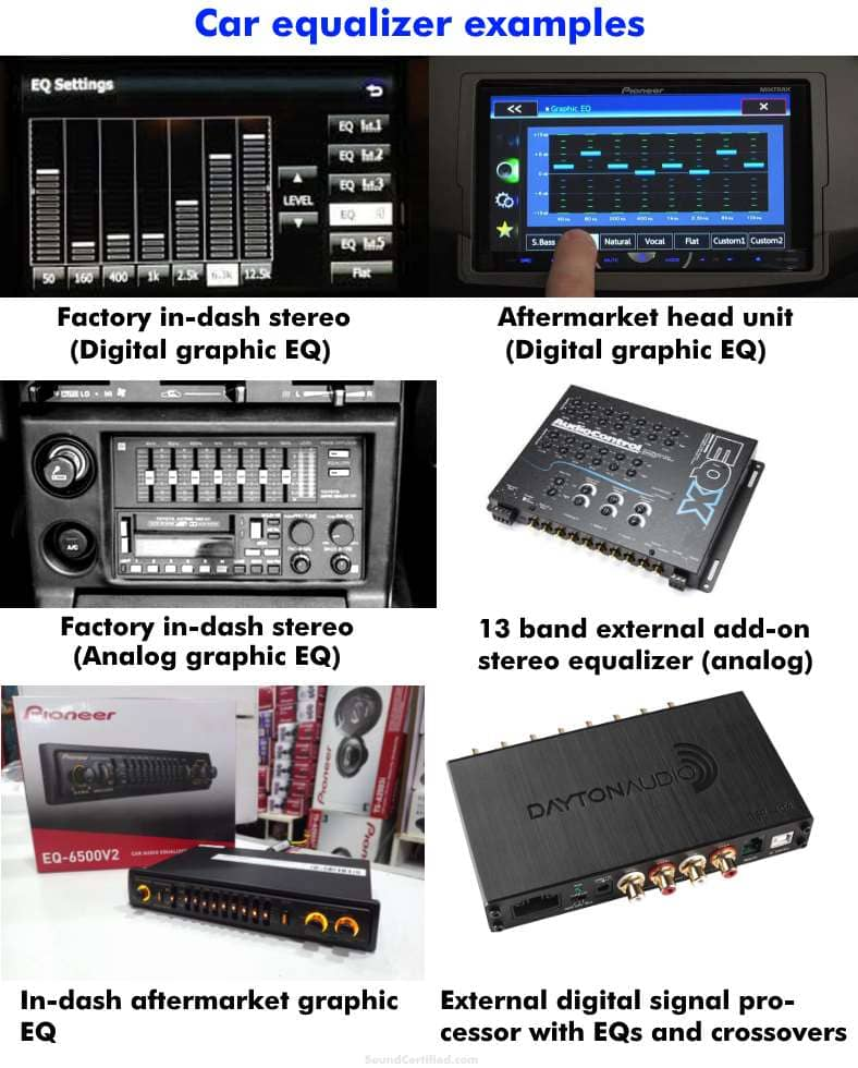 Car audio equalizer examples