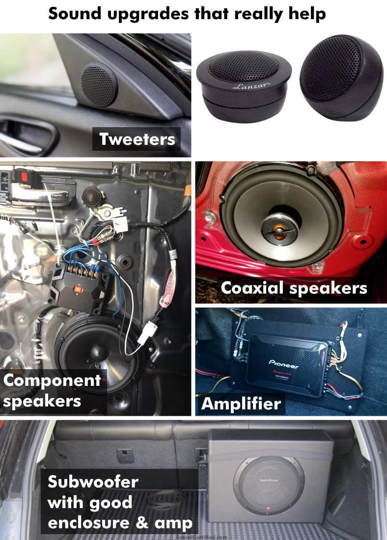 Examples of recommended car audio upgrades for better sound