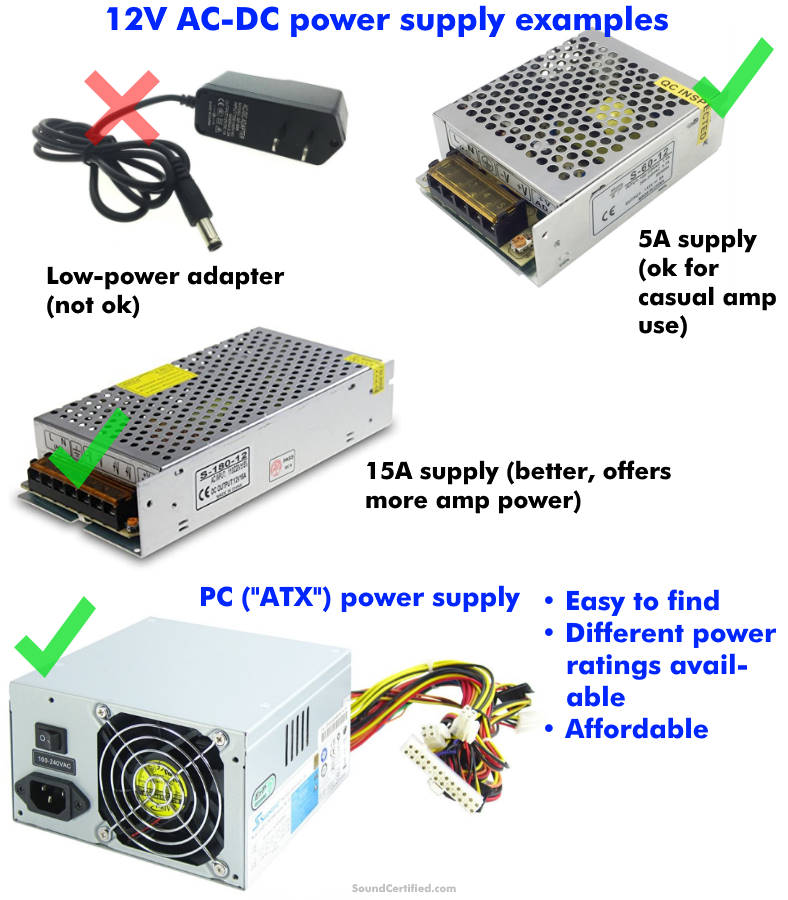 Car amp DC power supply examples
