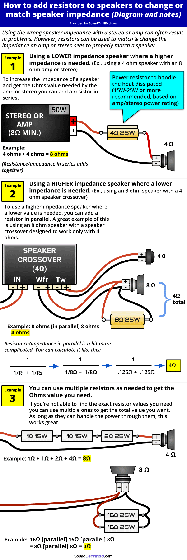 How to add resistor to speaker to change impedance diagram