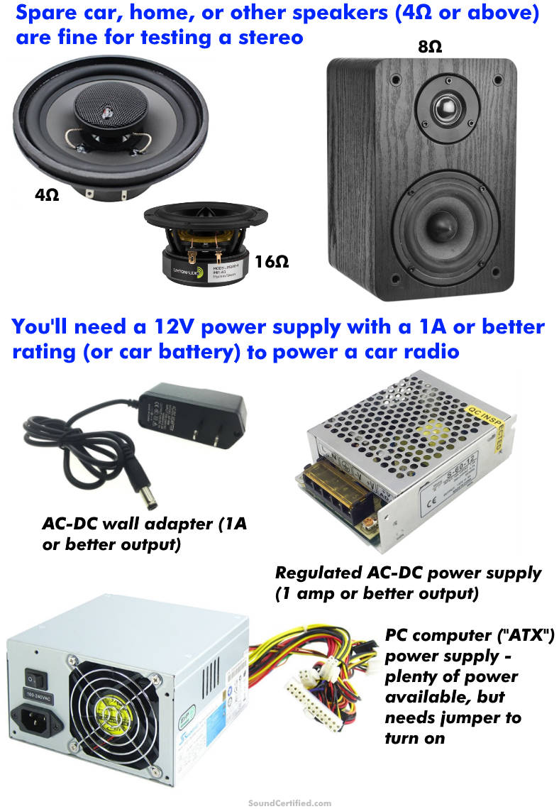 Examples of items needed to test a car stereo at home