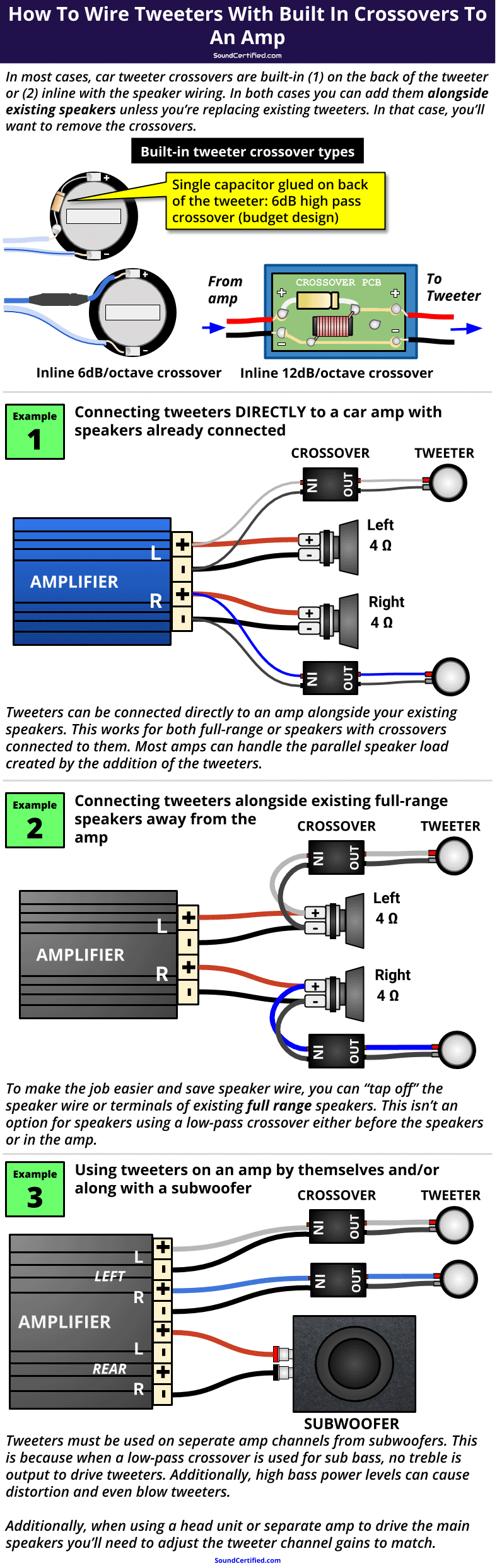 how to wire tweeters with built in crossovers to car amp diagram