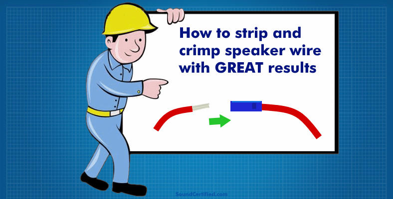 Man with sign for how to strip & connect speaker wire properly