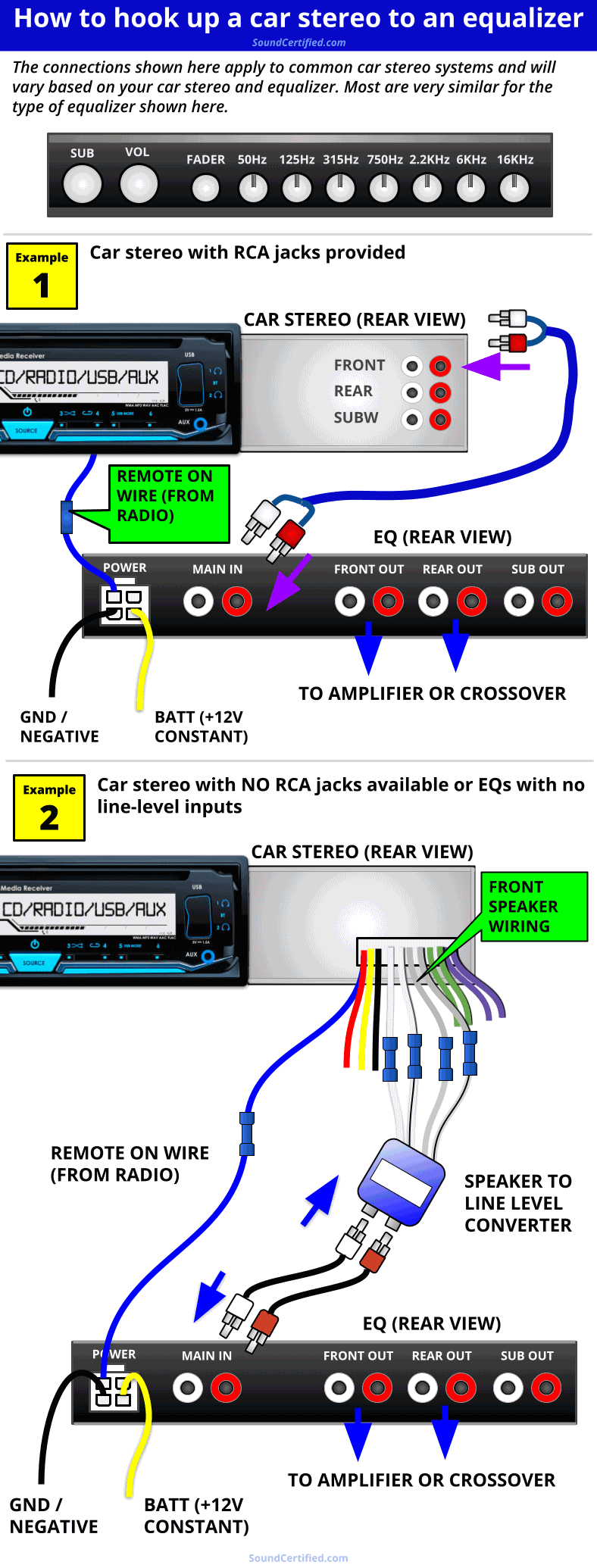 how to hook up a car stereo to an equalizer diagram