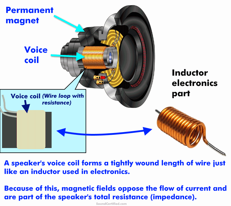 diagram of a speaker voice coil inductance explained