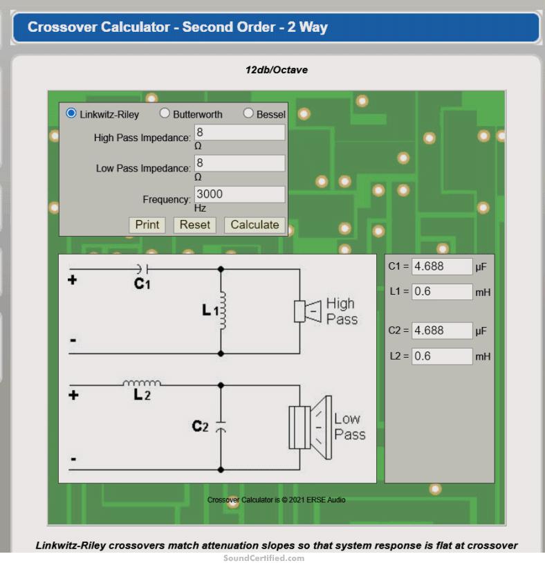 speaker crossover calculator example snapshot