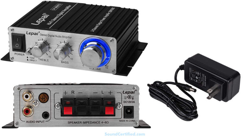 Stereo min amplifier example front back images